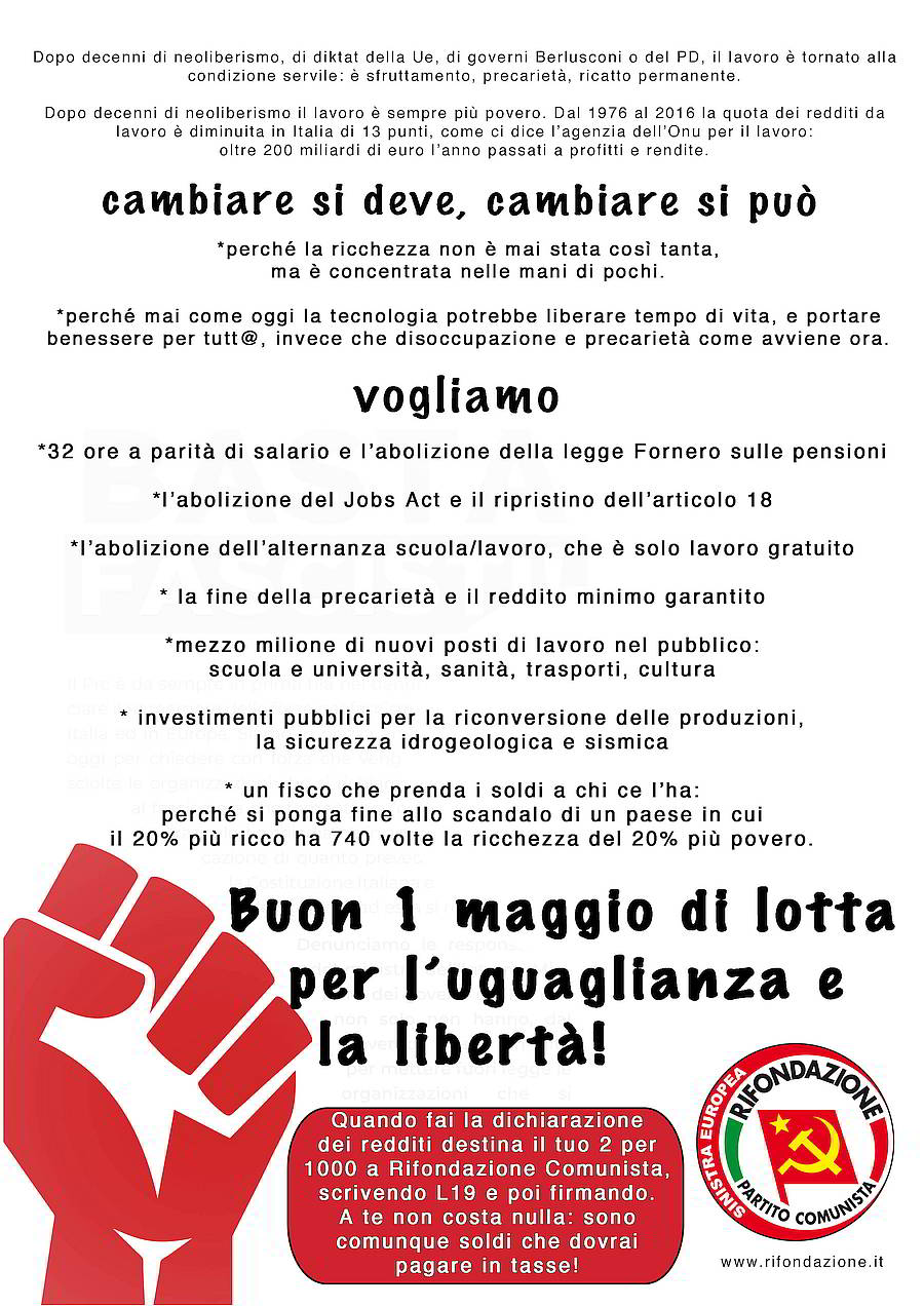 the best attitude 66cb7 2fe14 Buon Primo maggio di lotta per l uguaglianza e la libertà